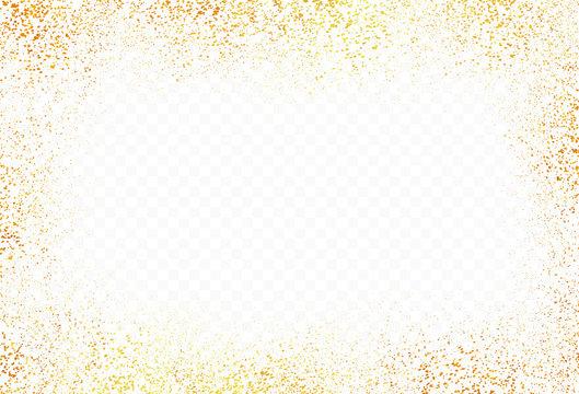 Gold glitter transparent background, golden dust with transparency vector illustration