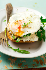 Open Face Breakfast Sandwich With Ricotta Spread