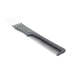 Black hairbrush on a white background.Isolated