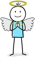 Engel Figur mit Engelsflügel und Heiligenschein