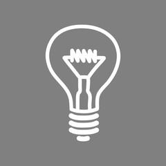 White lightbulb vector icon on grey background
