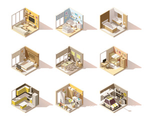 Vector isometric low poly home rooms set