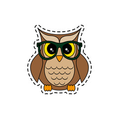 Owl with glasses. Vector illustration.