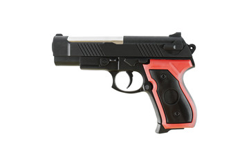 one plastic handgun toy isolated on white