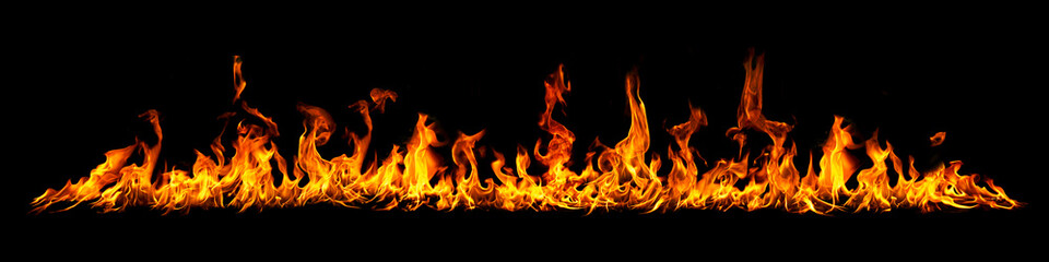 Fire panorama on a black background. Wall mural