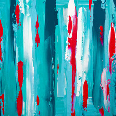 Colorful paint strokes on canvas, art vector background, turquoise wallpaper and pink drops