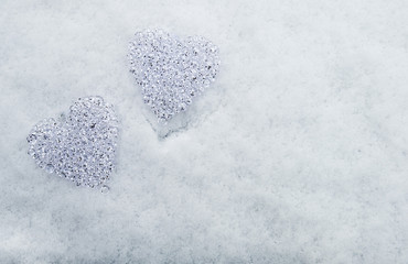 Hearts of glas in the snow