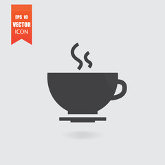 Hot coffee icon in flat style isolated on grey background.