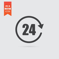 24 hours icon in flat style isolated on grey background.