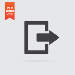 Exit icon in flat style isolated on grey background.