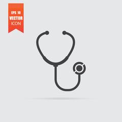 Stethoscope icon in flat style isolated on grey background.