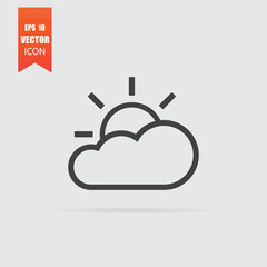 Sun with cloud icon in flat style isolated on grey background.