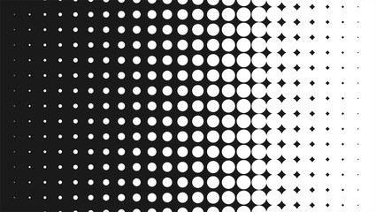 Halftone pattern background, round spot shapes, vintage or retro graphic with place for your text. Halftone digital effect.