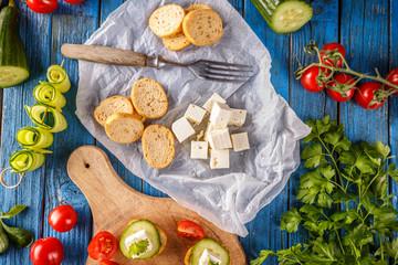 Bruschetta and salted feta cheese