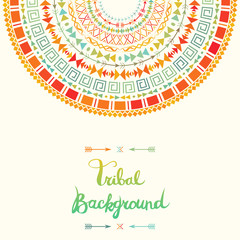 Tribal background with aztec ornament. Boho style card template.