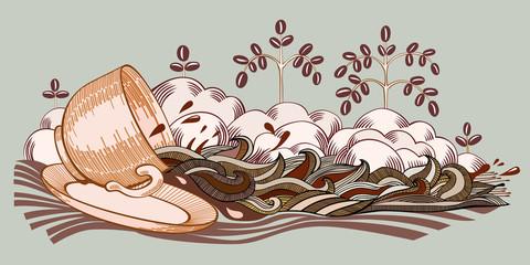 Coffee stream old gravure imitation for menu.
