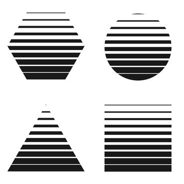 Halftone stripes design elements. Black and white hexagon, circle, triangle and square.