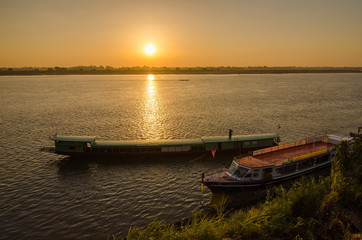 Beautiful views of the Mekong River at sunrise morning