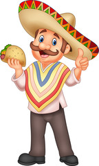 Mexican man holding taco