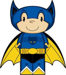 Cute Heroic Cartoon Cat Boy Superhero