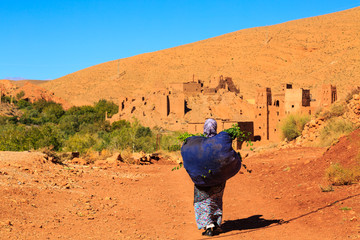 Moroccan woman carying a big bag with herbs with kasbah in the b