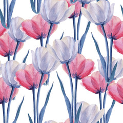 Background tulips. Seamless pattern. Watercolor illustration.