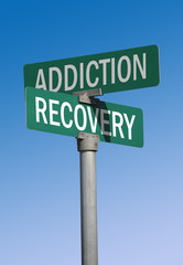 addiction and recovery street sign