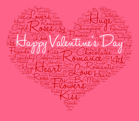Happy Valentine's Day word cloud on a pink background.