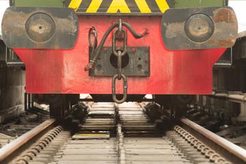 Locomotive on tracks close-up