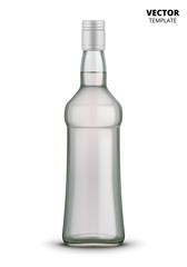 Vodka bottle glass mockup vector isolated on white background. Glass bottle mockup for design presentation ads.