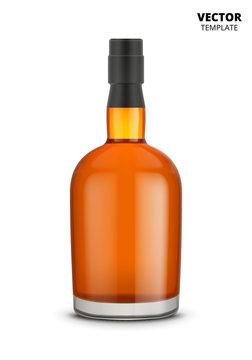 Cognac, whiskey or brandy bottle vector isolated on white background. Glass bottle mockup for design presentation ads.
