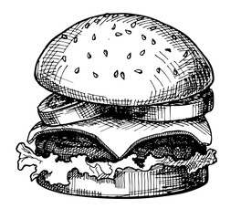 Hand drawn Cheeseburger or Hamburger. Sketch Vector illustration.