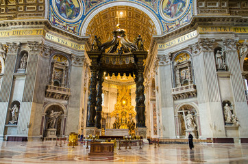 Interior of Saint Peter Basilica, Vatican.