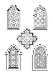 Arabic or Islamic traditional architecture, set of windows