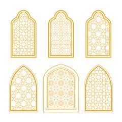 Set of ornamental windows in arabic style