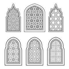 Set of ornamental windows in black and white