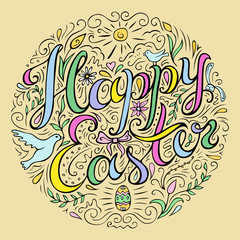 Happy Easter card with freehand lettering and decorative flourish elements.