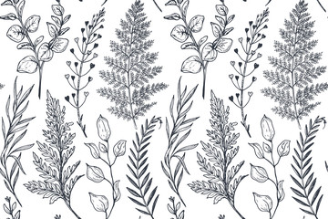 Seamless pattern with hand drawn flowers and plants