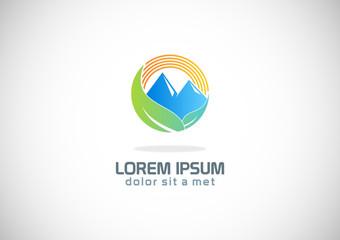 mountain green leaf nature logo