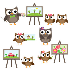Owls learning to draw