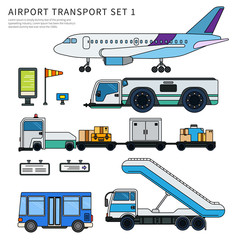 Types of airport working transport isolated on white