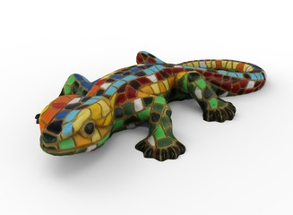 3d illustration of mosaic lizard. white background isolated. icon for game web.