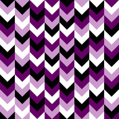 Chevron pattern seamless vector arrows geometric design in mixed order colorful black white purple lilac