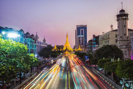 Sule Pagoda at Night, Yangon