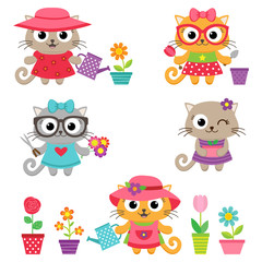 Cute little cat girls with gardening tools