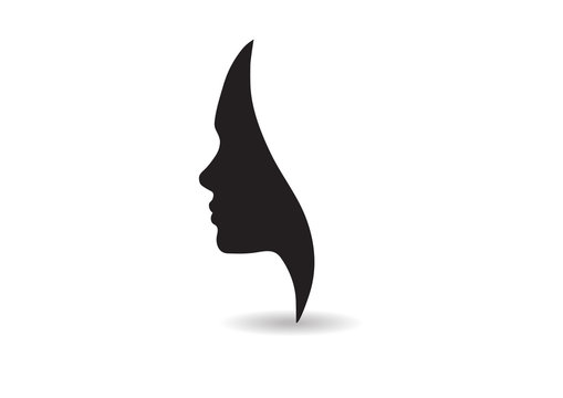 vector women face silhouette isolated business beauty female company logo lady icon