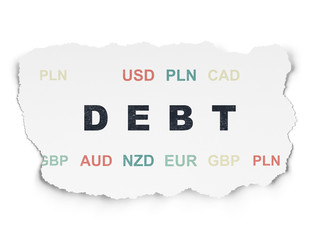 Banking concept: Debt on Torn Paper background