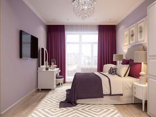 Bedroom interior design in shades of lilac. 3d rendering