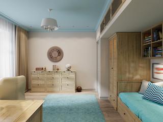 Children's room interior design for the little traveler. 3d rend