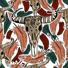 Vector hand drawn buffalo skulls. Tribal elements. Seamless patt
